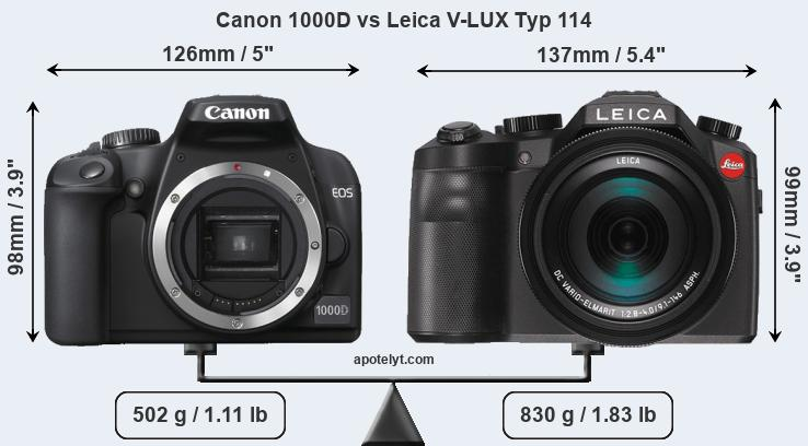 Size Canon 1000D vs Leica V-LUX Typ 114