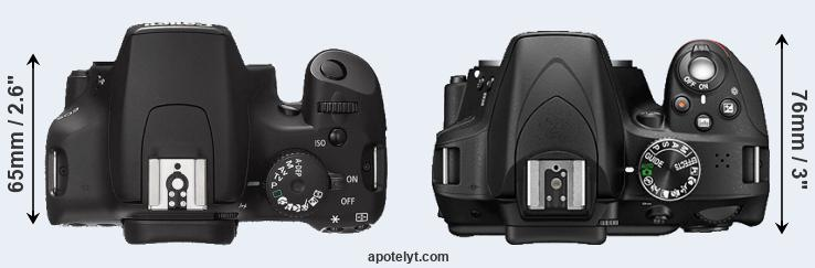 1000D versus D3300 top view