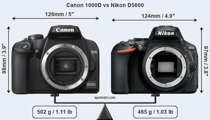 Compare Canon 1000D and Nikon D5600