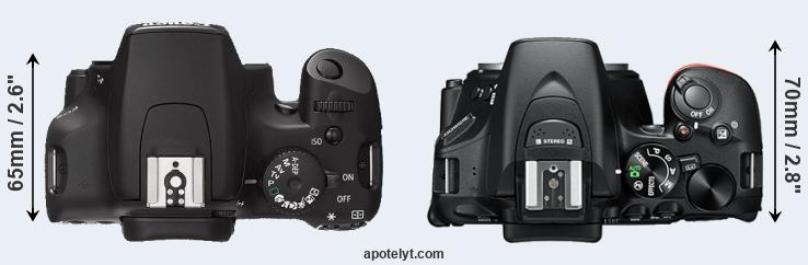 1000D versus D5600 top view