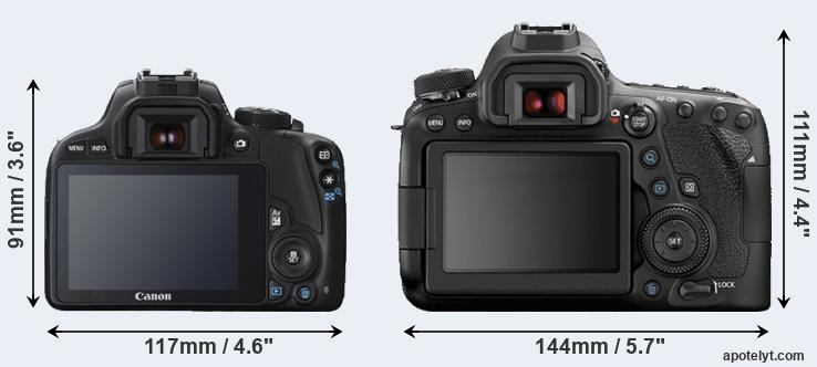 100D and 6D Mark II rear side