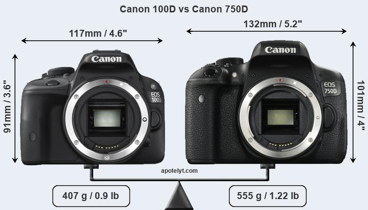 Canon 100D and Canon 750D sensor measures