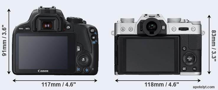 100D and X-T10 rear side