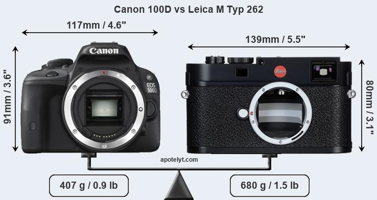 Size Canon 100D vs Leica M Typ 262