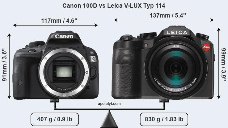 Size Canon 100D vs Leica V-LUX Typ 114