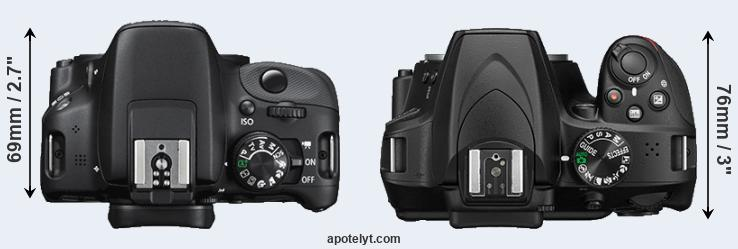 100D versus D3400 top view