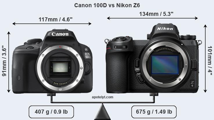 Compare Canon 100D and Nikon Z6