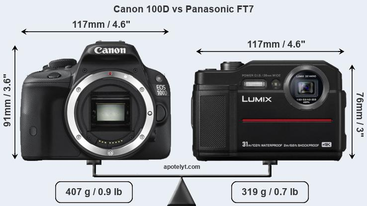 Size Canon 100D vs Panasonic FT7