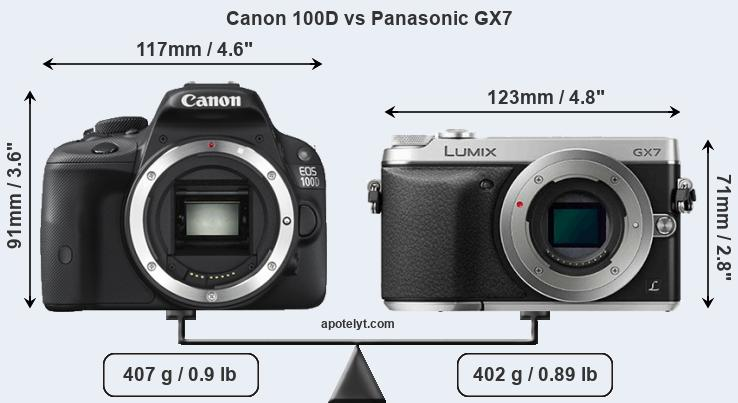 Compare Canon 100D and Panasonic GX7