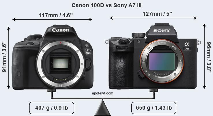 Size Canon 100D vs Sony A7 III