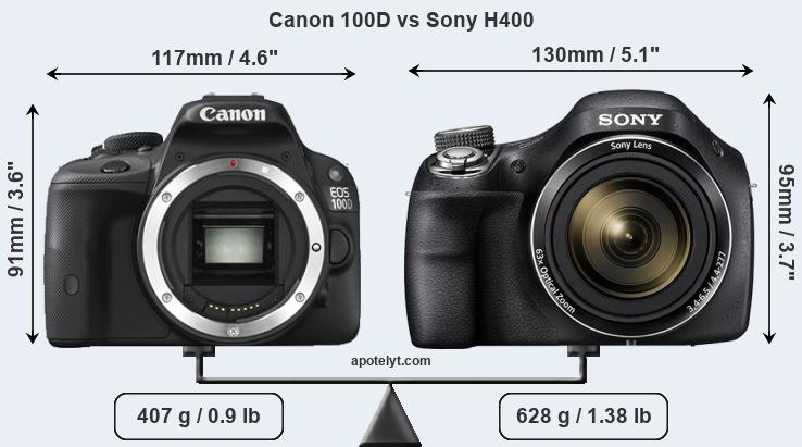 Size Canon 100D vs Sony H400