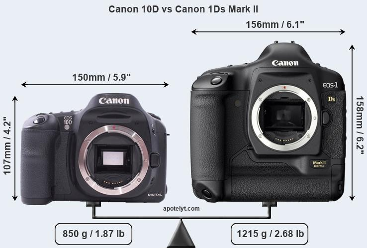 Size Canon 10D vs Canon 1Ds Mark II