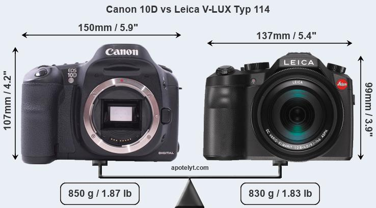 Size Canon 10D vs Leica V-LUX Typ 114