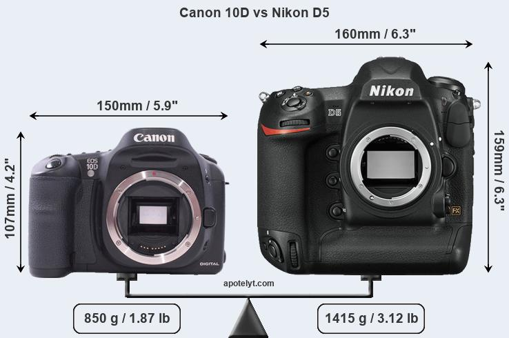 Compare Canon 10D and Nikon D5