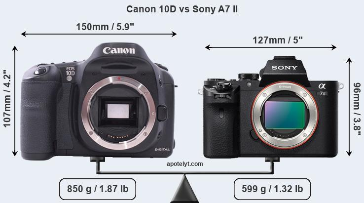 Size Canon 10D vs Sony A7 II