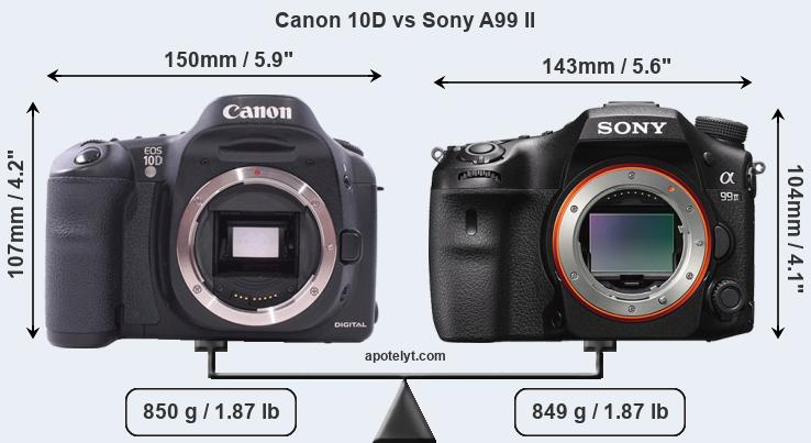 Size Canon 10D vs Sony A99 II