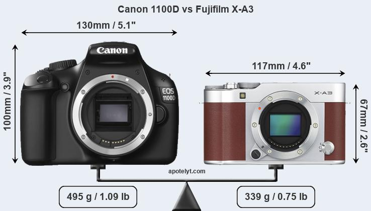 Compare Canon 1100D and Fujifilm X-A3