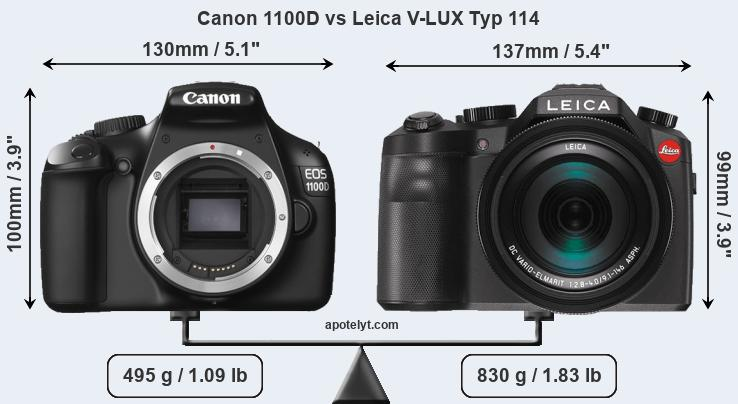 Size Canon 1100D vs Leica V-LUX Typ 114