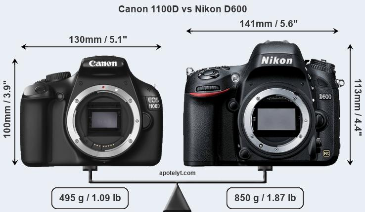 Compare Canon 1100D and Nikon D600