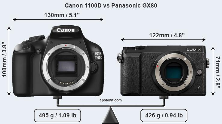 Compare Canon 1100D and Panasonic GX80
