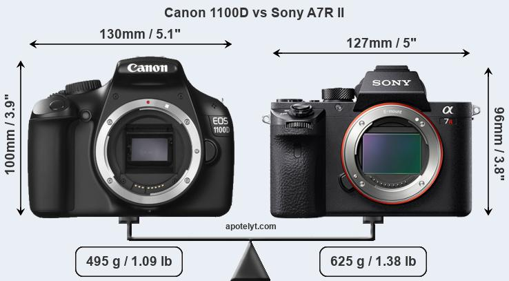 Size Canon 1100D vs Sony A7R II