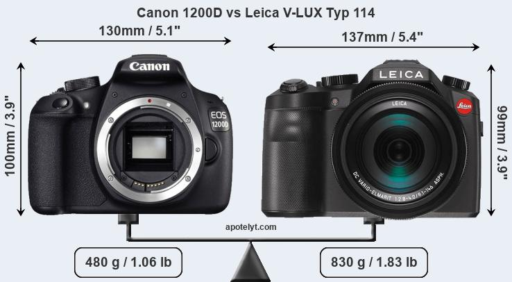 Size Canon 1200D vs Leica V-LUX Typ 114