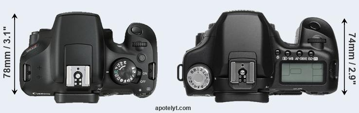 1300D versus 50D top view