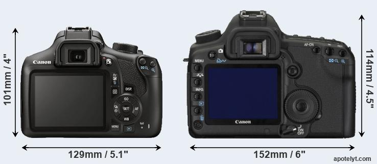 1300D and 5D Mark II rear side