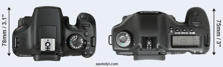 1300D versus 5D top view
