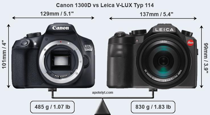 Size Canon 1300D vs Leica V-LUX Typ 114