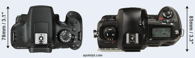 1300D versus D1 top view