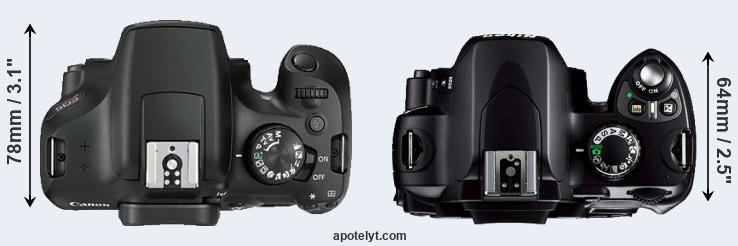 1300D versus D40 top view