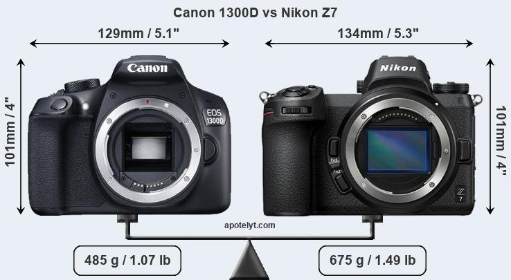 Compare Canon 1300D and Nikon Z7