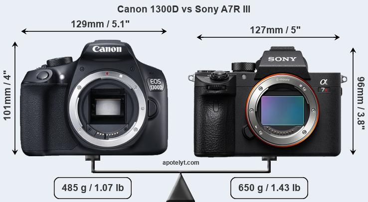 Size Canon 1300D vs Sony A7R III