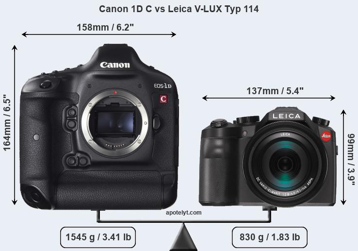 Size Canon 1D C vs Leica V-LUX Typ 114