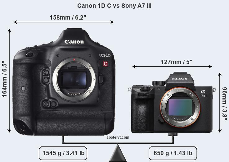 Size Canon 1D C vs Sony A7 III