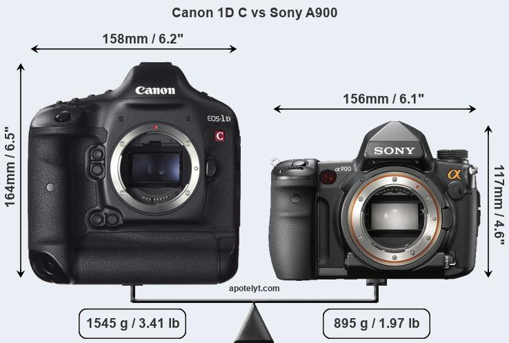 Size Canon 1D C vs Sony A900