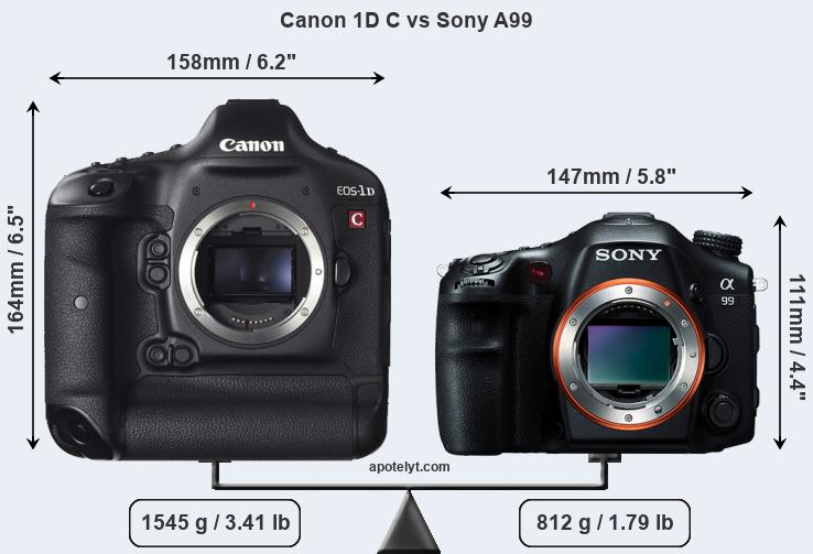 Size Canon 1D C vs Sony A99