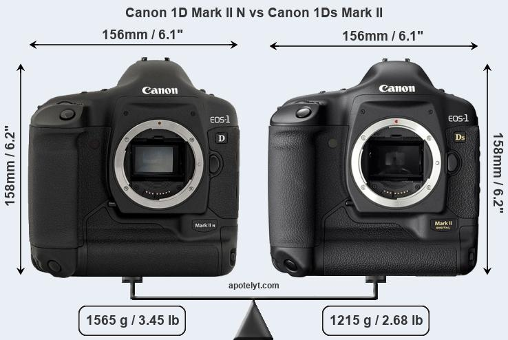 Size Canon 1D Mark II N vs Canon 1Ds Mark II