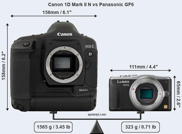 Size Canon 1D Mark II N vs Panasonic GF6