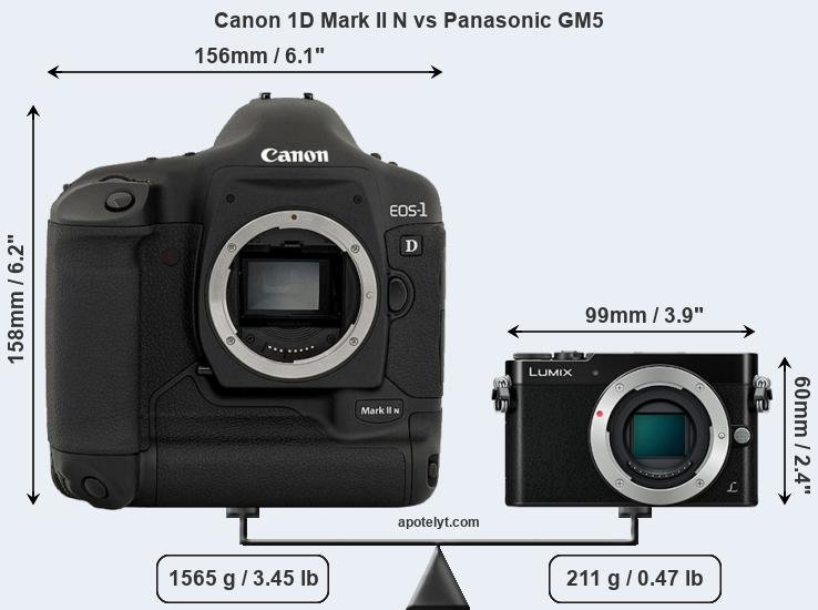 Size Canon 1D Mark II N vs Panasonic GM5
