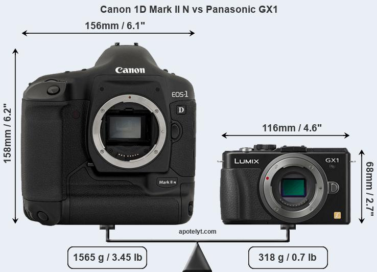 Size Canon 1D Mark II N vs Panasonic GX1