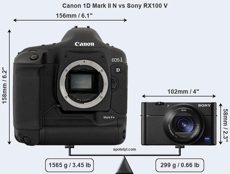 Size Canon 1D Mark II N vs Sony RX100 V