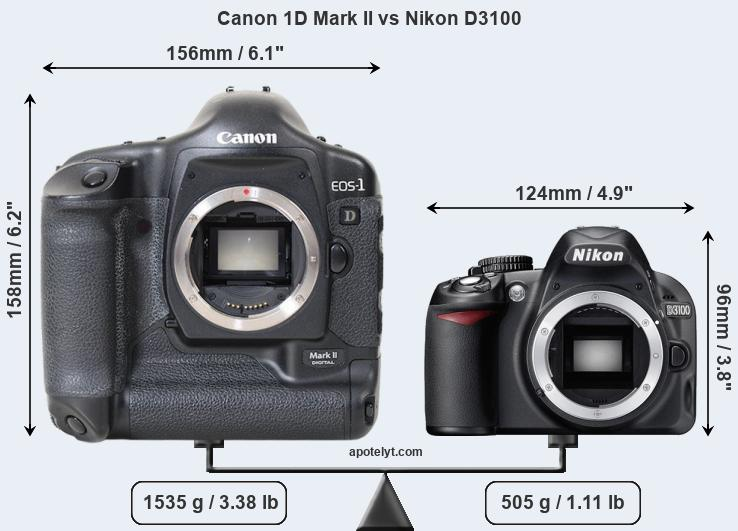 Size Canon 1D Mark II vs Nikon D3100