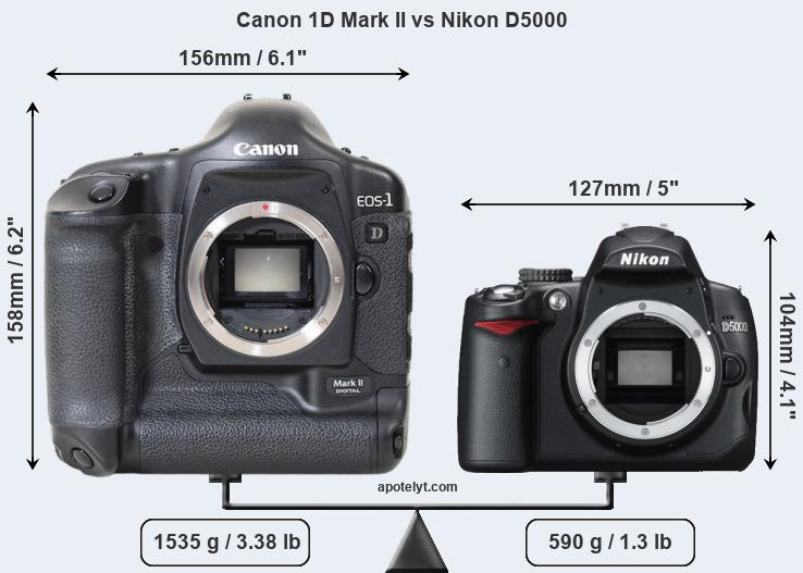 Size Canon 1D Mark II vs Nikon D5000