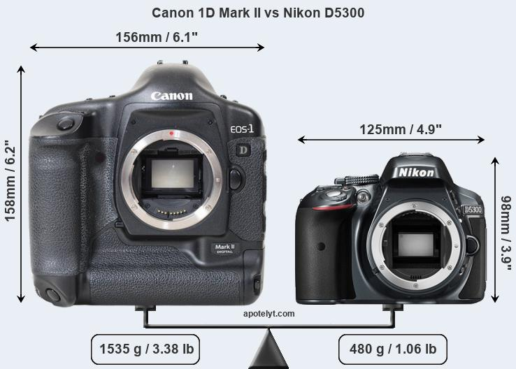 Size Canon 1D Mark II vs Nikon D5300