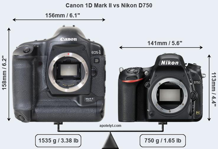 Size Canon 1D Mark II vs Nikon D750