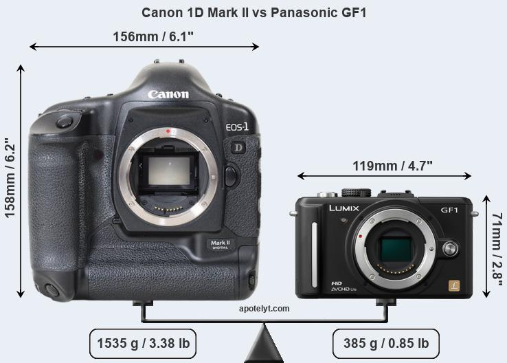 Size Canon 1D Mark II vs Panasonic GF1