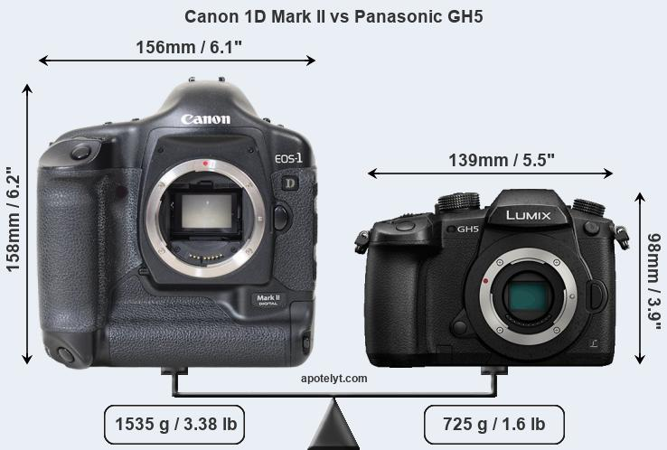 Compare Canon 1D Mark II and Panasonic GH5