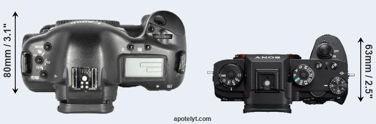 1D Mark II versus A9 top view